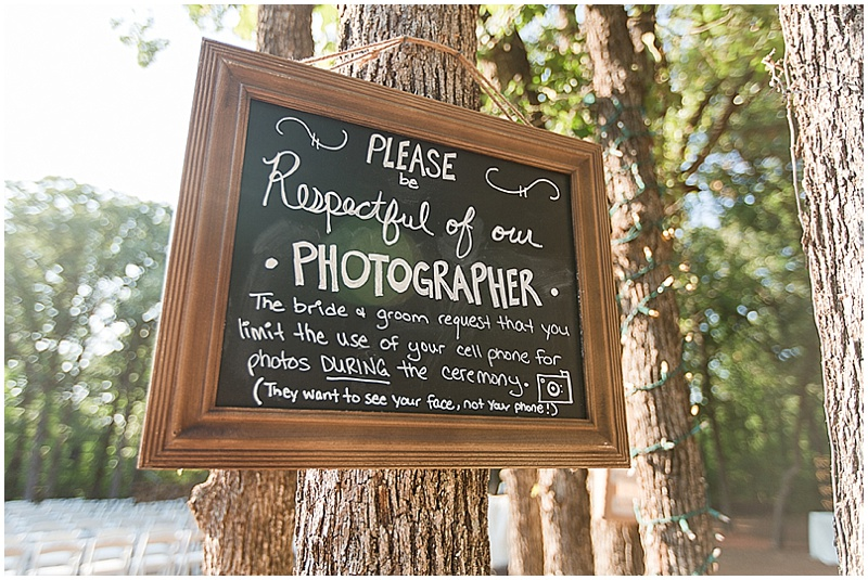 no phone wedding sign
