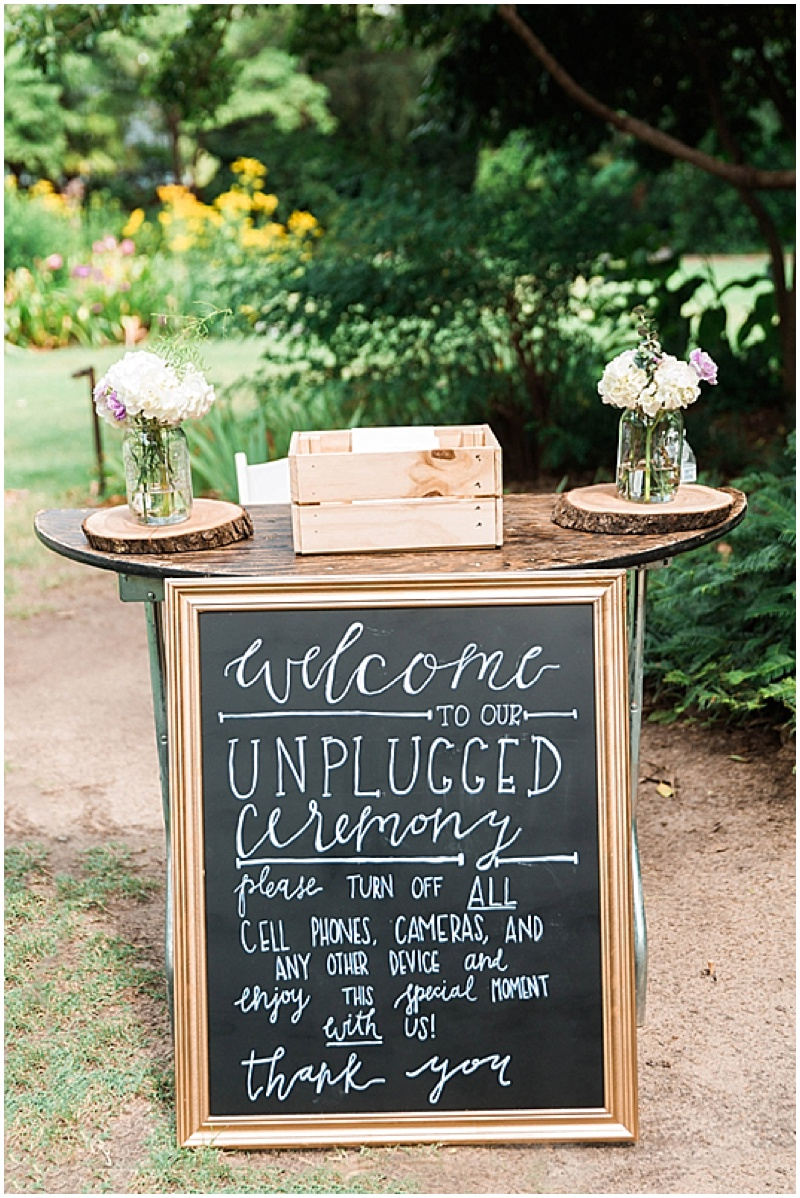 unplugged wedding ceremony sign