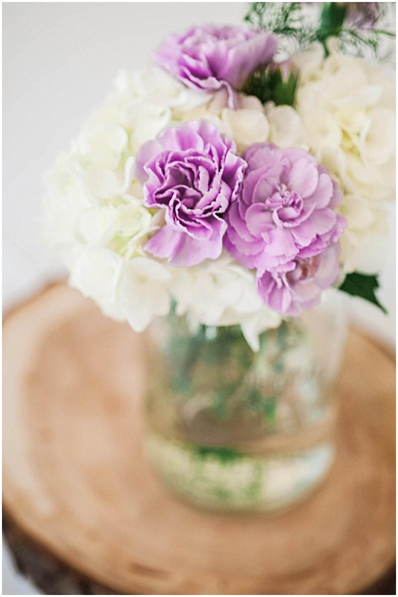 purple and white wedding decor