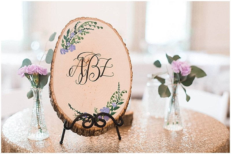 wood and purple wedding decor