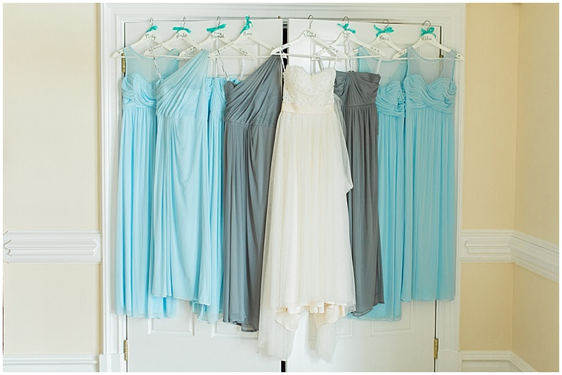blue and gray bridesmaid dresses