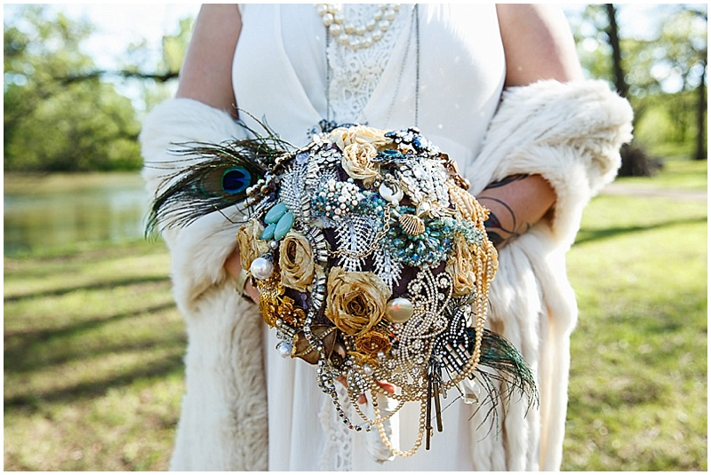 broach and jewel bouquet