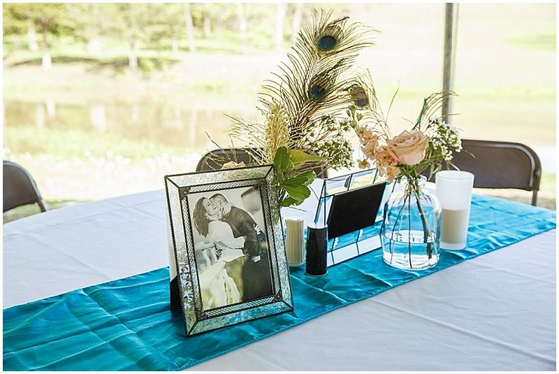 peacock themed reception decor