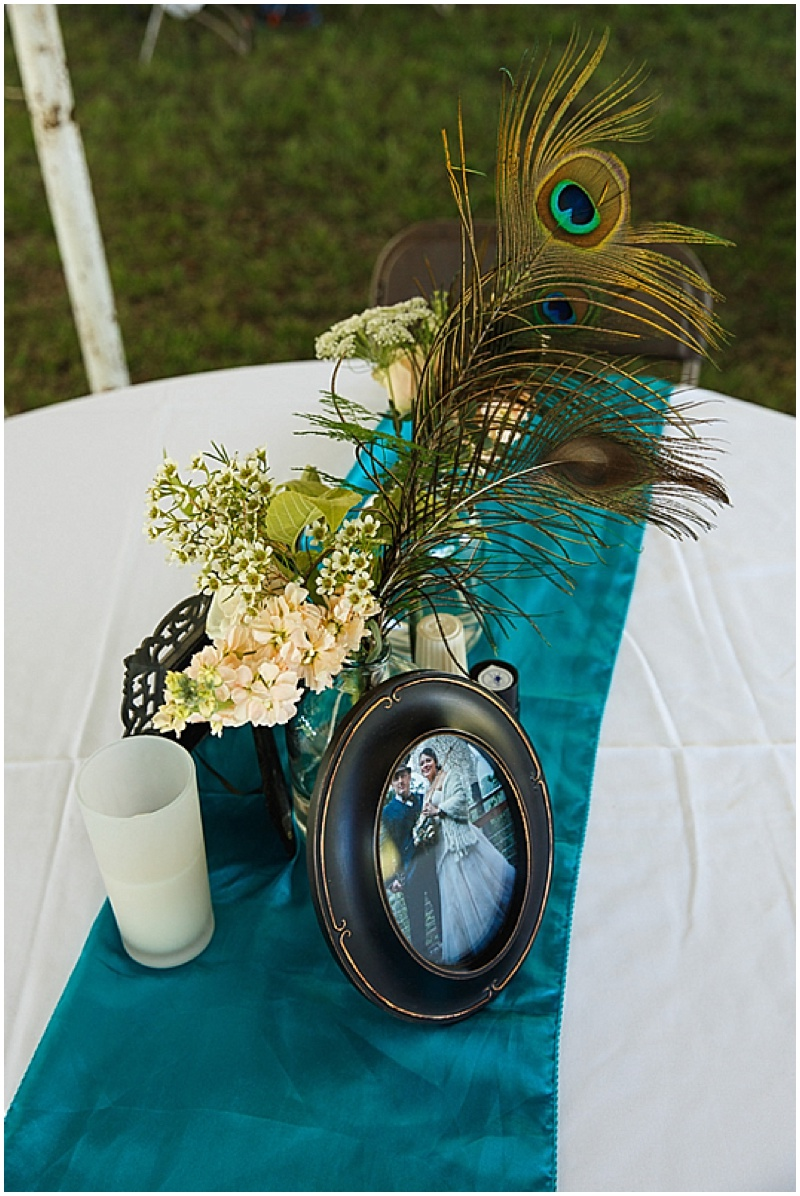 peacock themed reception decor