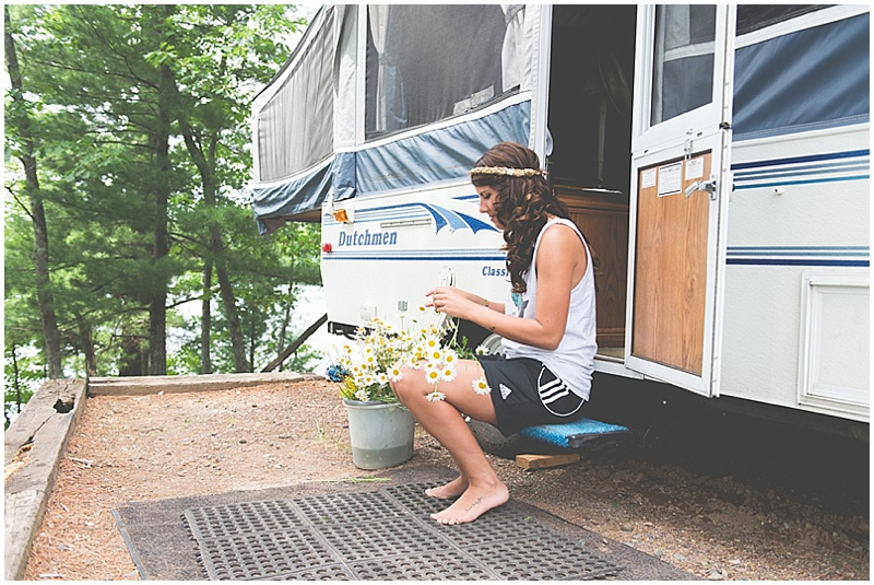 getting ready in the camper