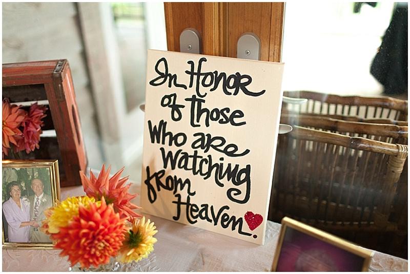 in memory wedding display