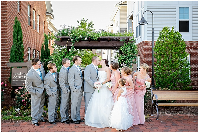 pink and gray wedding attire