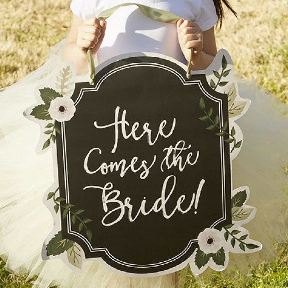 "Flower Girl ""Here Comes the Bride"" Chalkboard Sign by TaaraBazaar on Etsy"