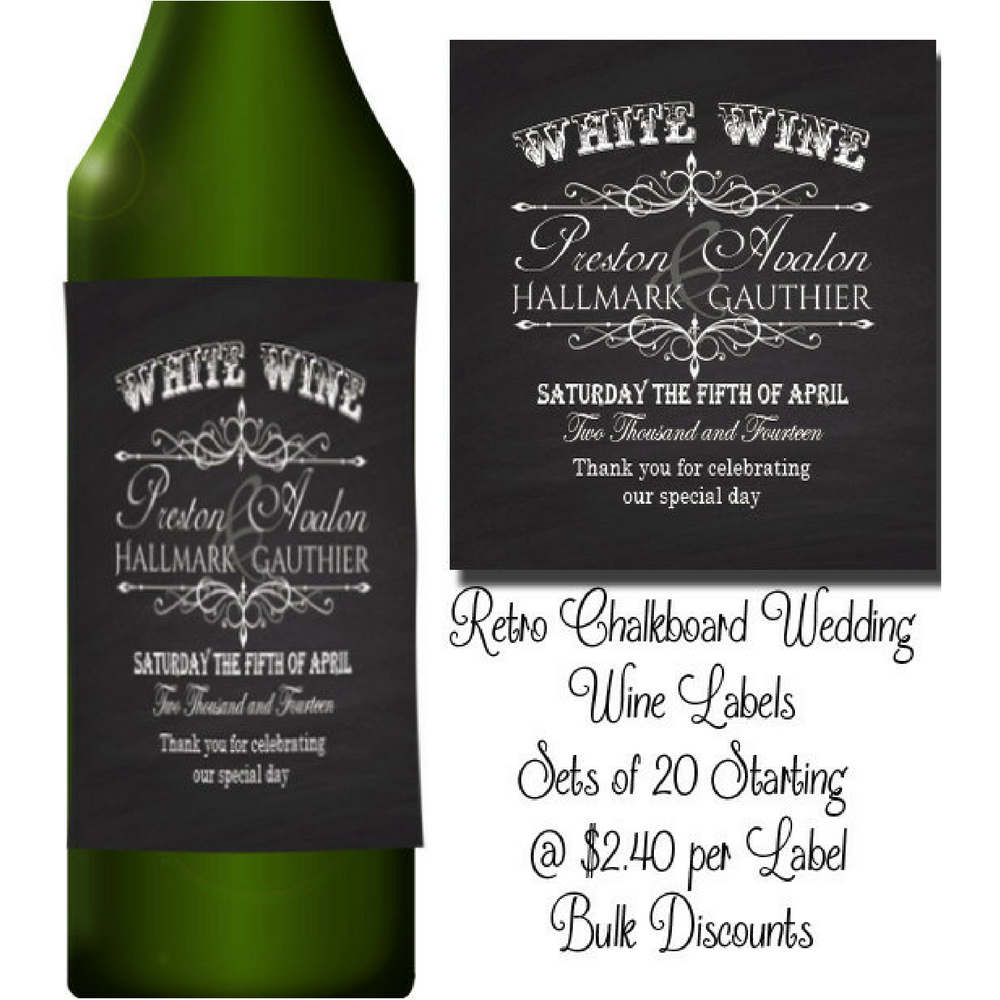 Rustic Chalkboard Wedding Wine Labels by TheInspiredEdge on Etsy