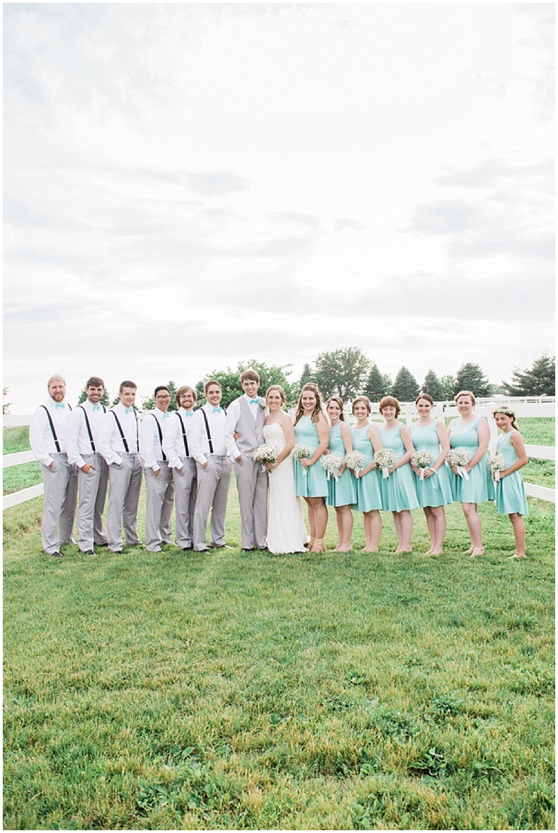 aqua and gray wedding attire