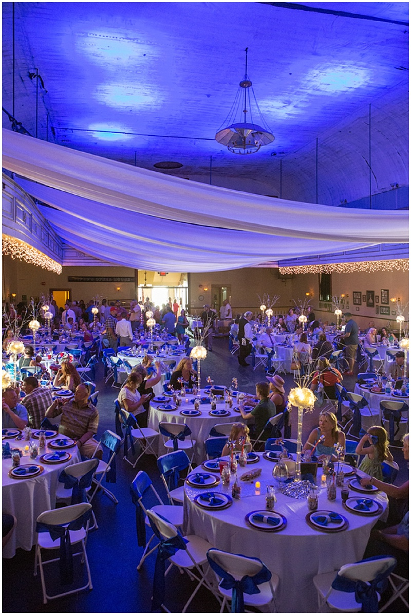 red, white and blue wedding reception
