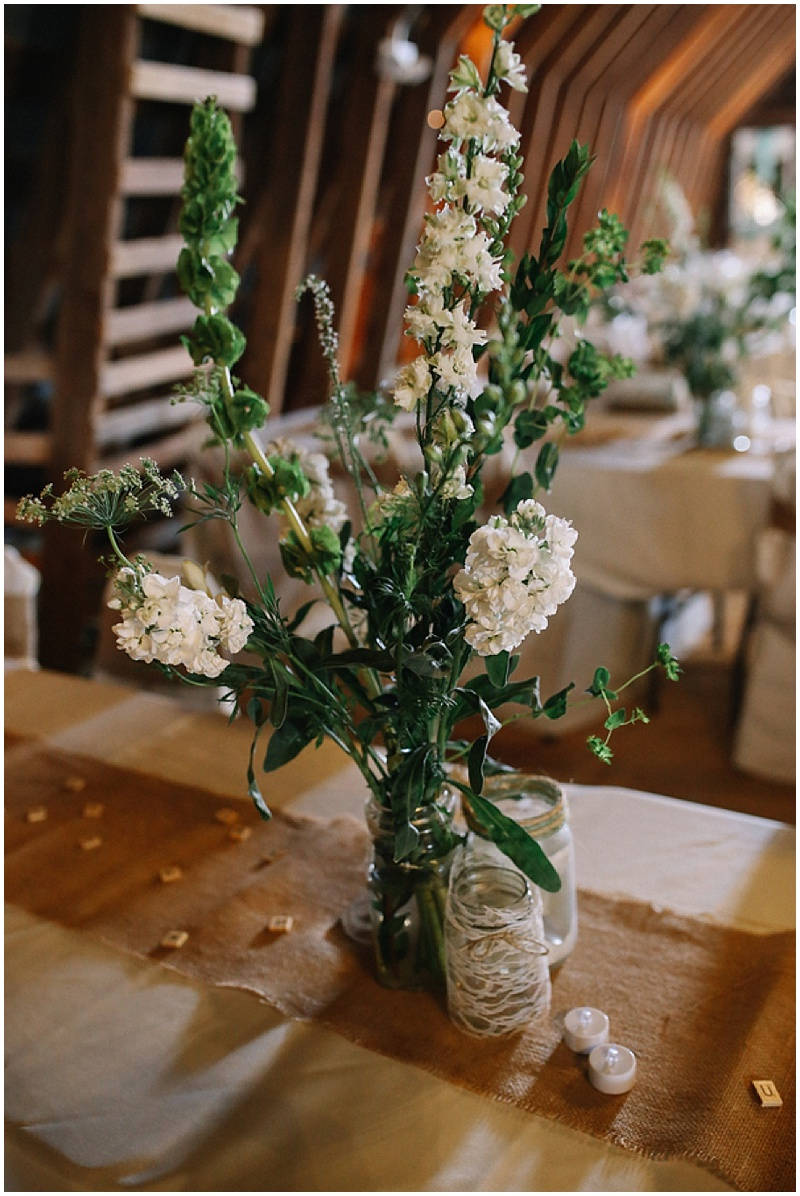 white rustic wedding decor