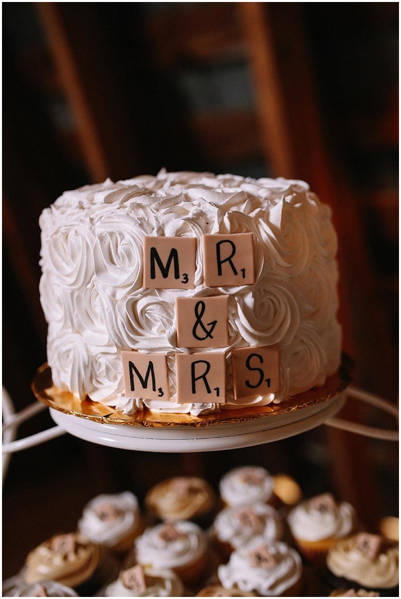 scrabble letter wedding cake