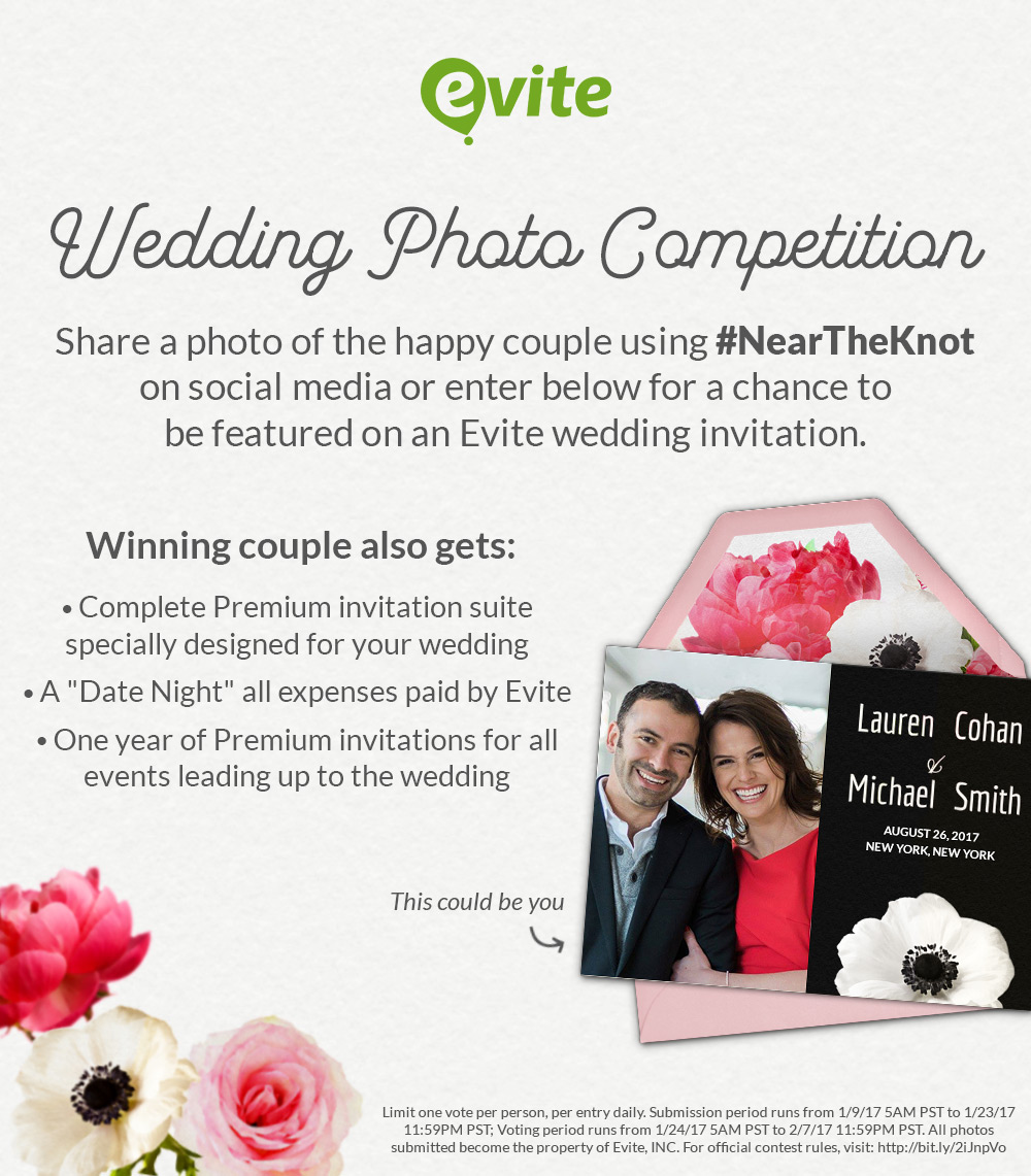 Evite\'s Digital Wedding Invites + the #NearTheKnot Contest!