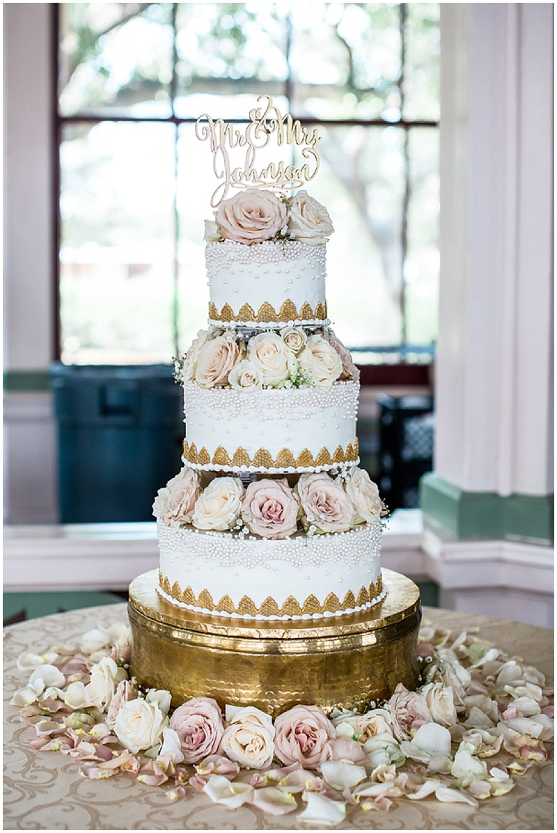 pink and gold wedding cake