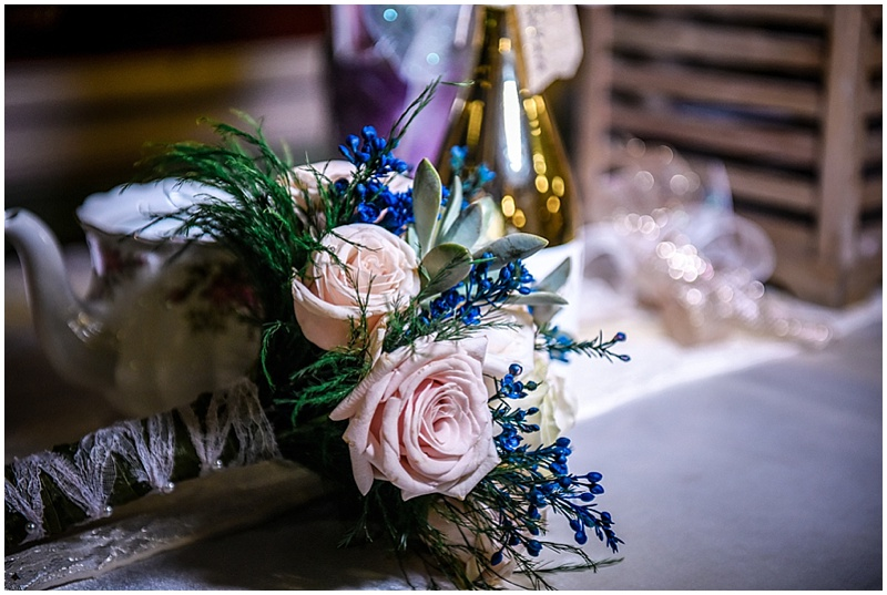 blush and blue bouquet