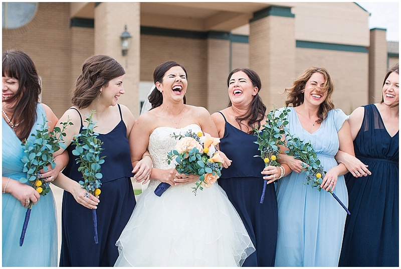 blue and navy bridesmaid dresses
