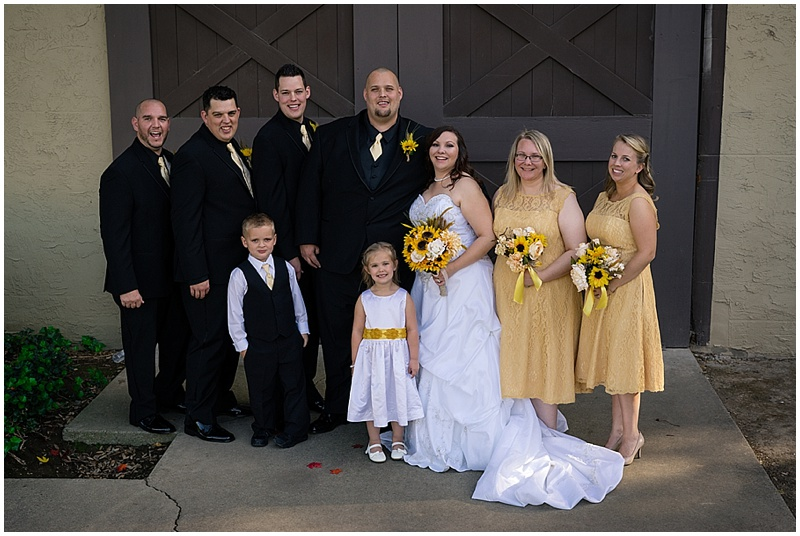 yellow and black wedding attire