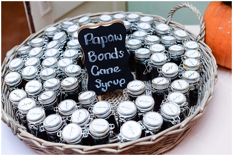 cane syrup wedding favors