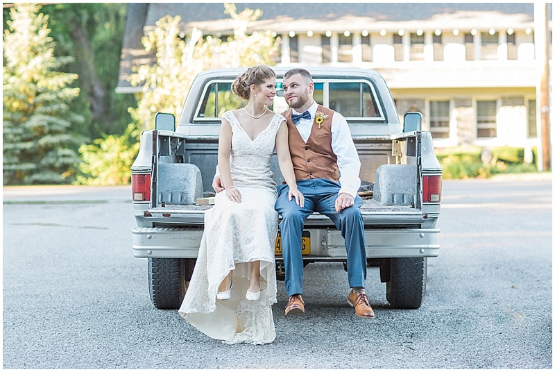 truck couple wedding photos