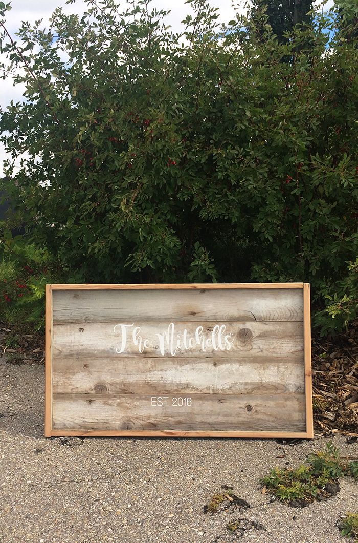 Hand Lettered Rustic Wedding Sign using Cricut Explore