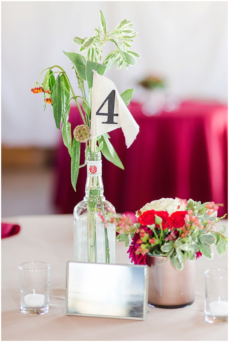 pink, red, and gold wedding decor