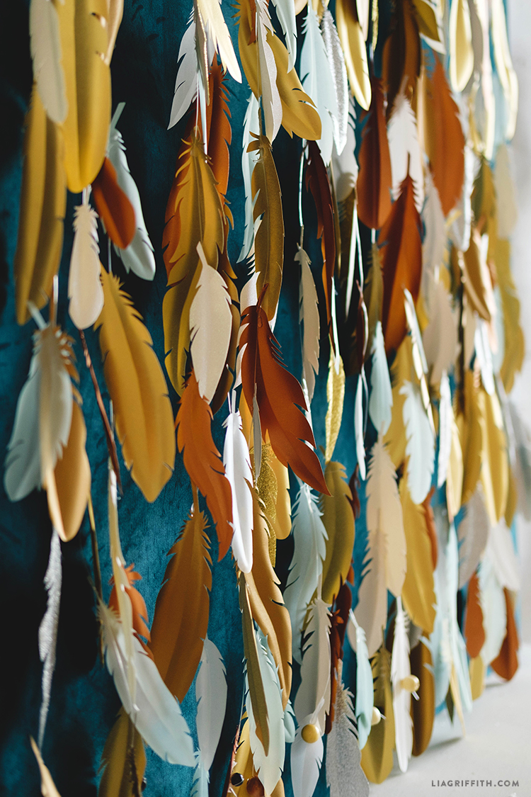 Lia Griffith - Paper Feather Backdrop using Cricut Explore