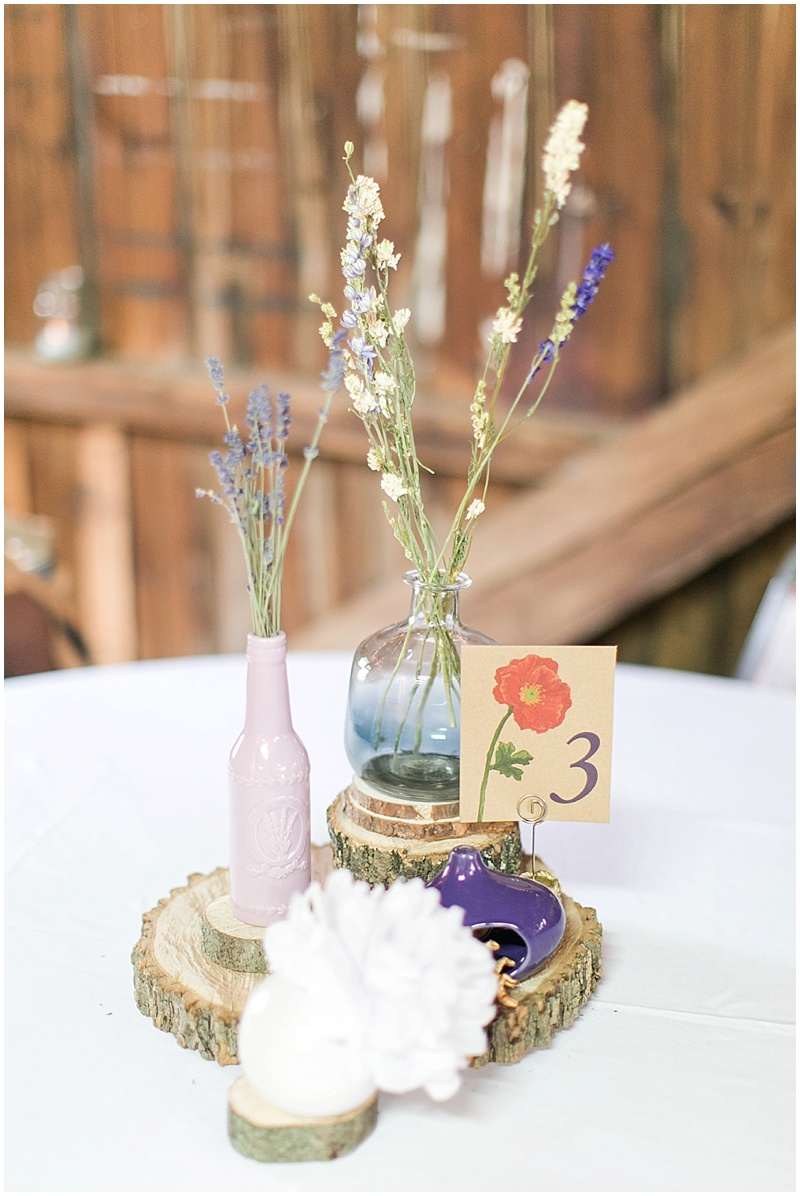 mismatched vase wedding decor