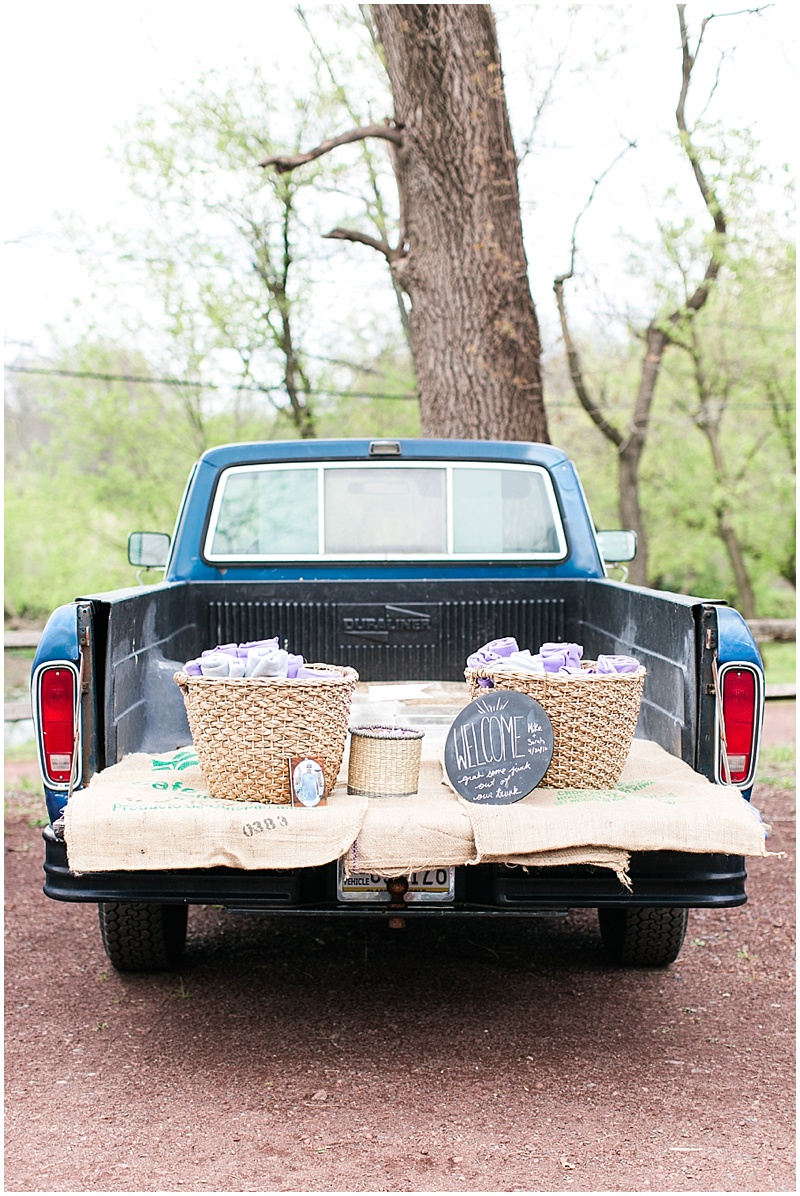 truck with wedding favors