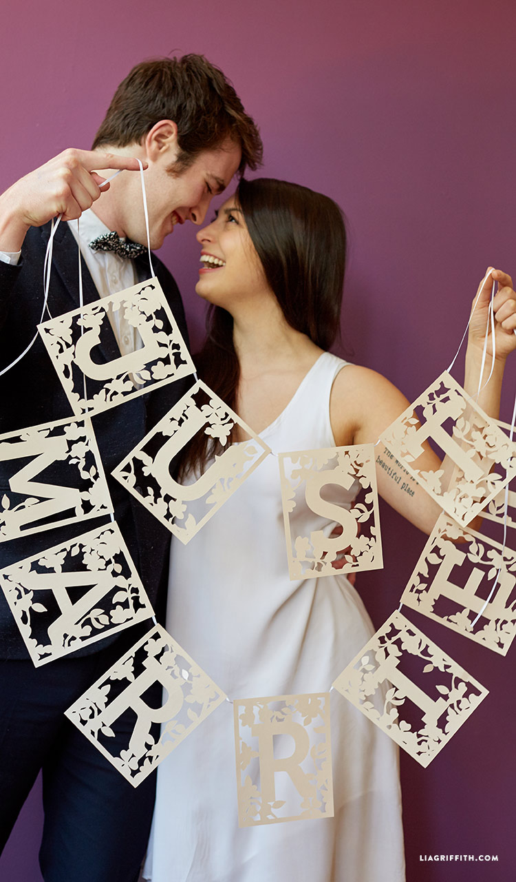 Lia Griffith - Just Married Garland using Cricut Explore