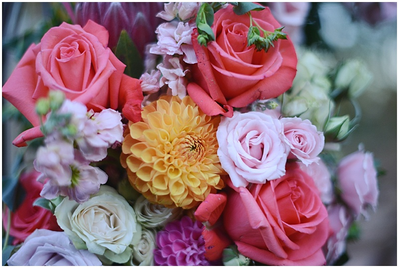 pink, orange and purple wedding bouquet
