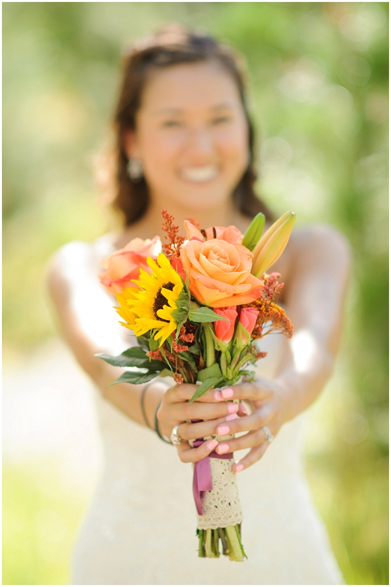 sunflower and orange rose wedding bouquet