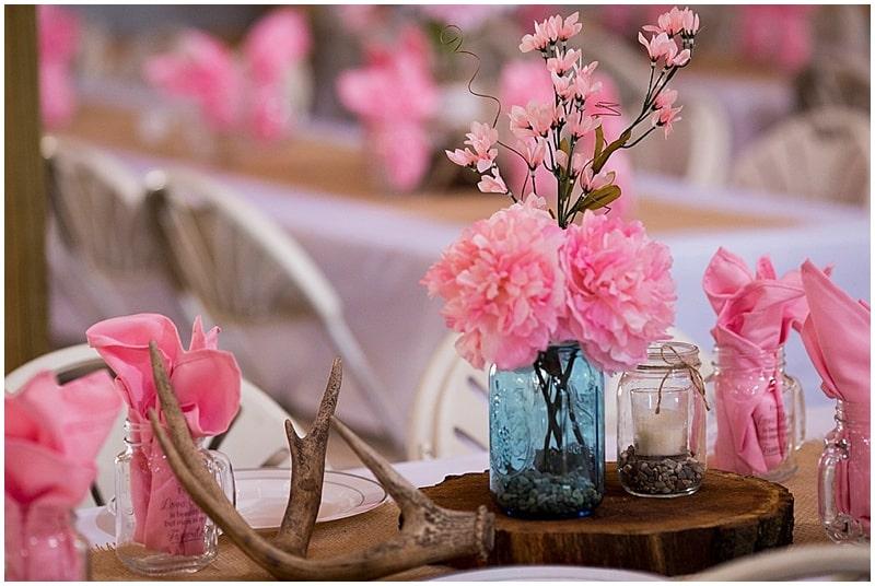 pink rustic wedding decor