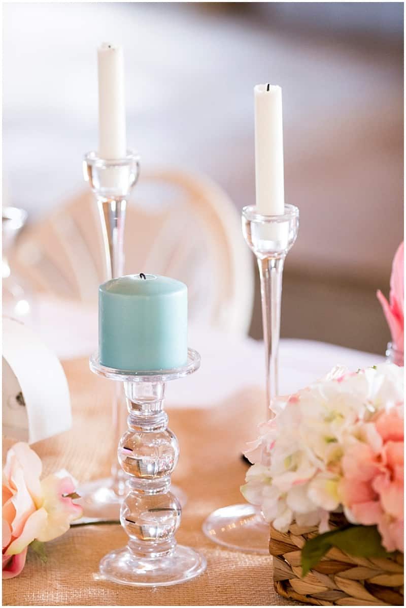 teal and pink wedding decor