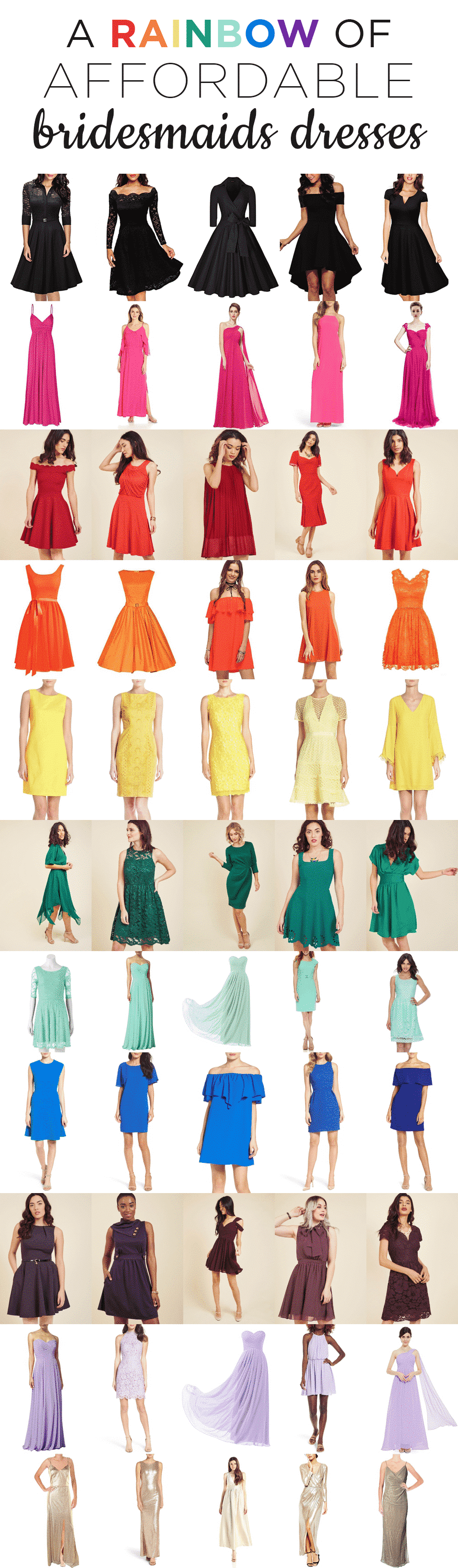 Affordable Bridesmaids Dresses in every color -- under $100!!!