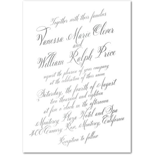 Bold Calligraphy - Signature White Wedding Invitations in Pewter or Navy | Magnolia Press