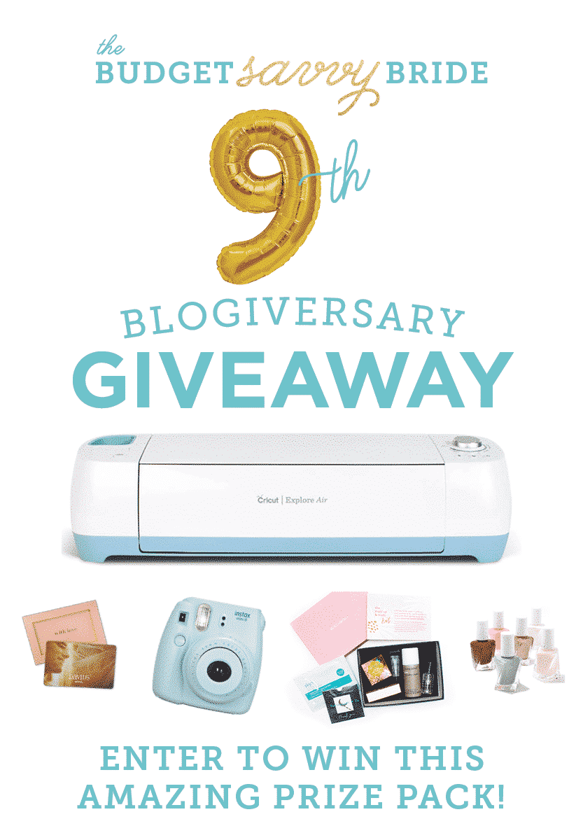 Enter The Budget Savvy Bride's 9th Blogiversary Giveaway! Prizes from David's Bridal, Cricut, Instax, Birchbox, and Essie!