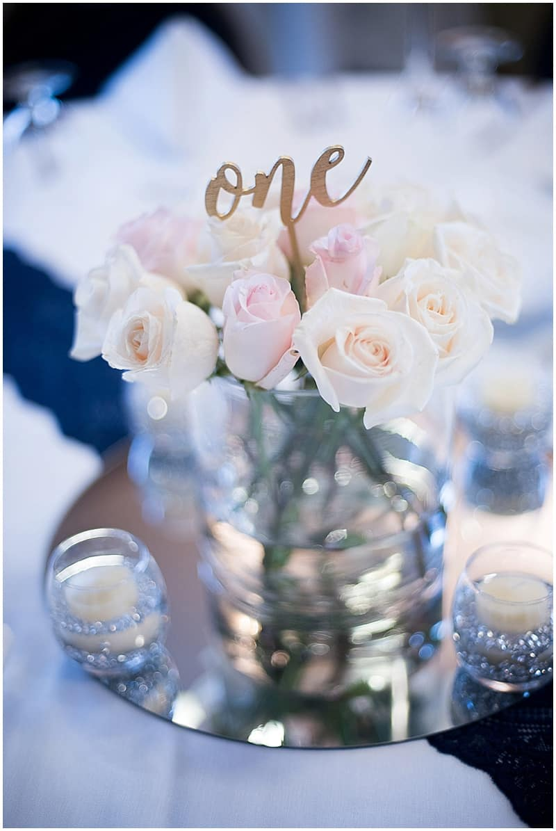 white rose wedding decor