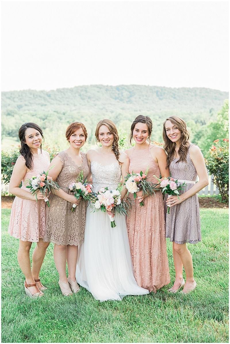 mismatched blush bridesmaid dress