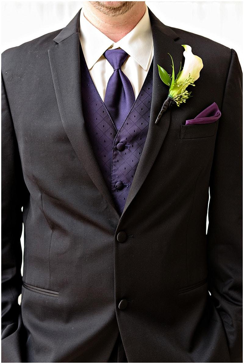 purple groom attire