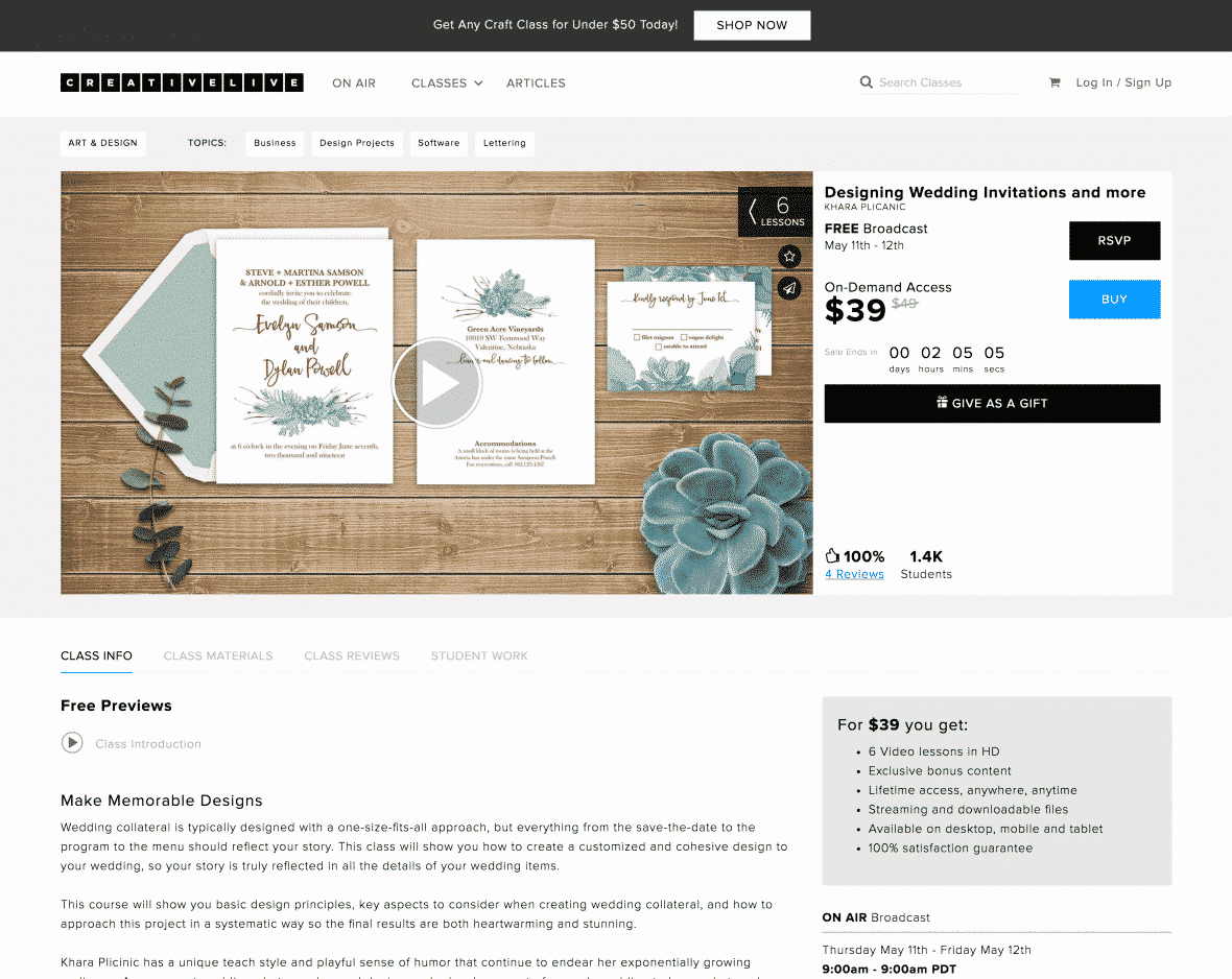 CreativeLive Wedding Invitations Course
