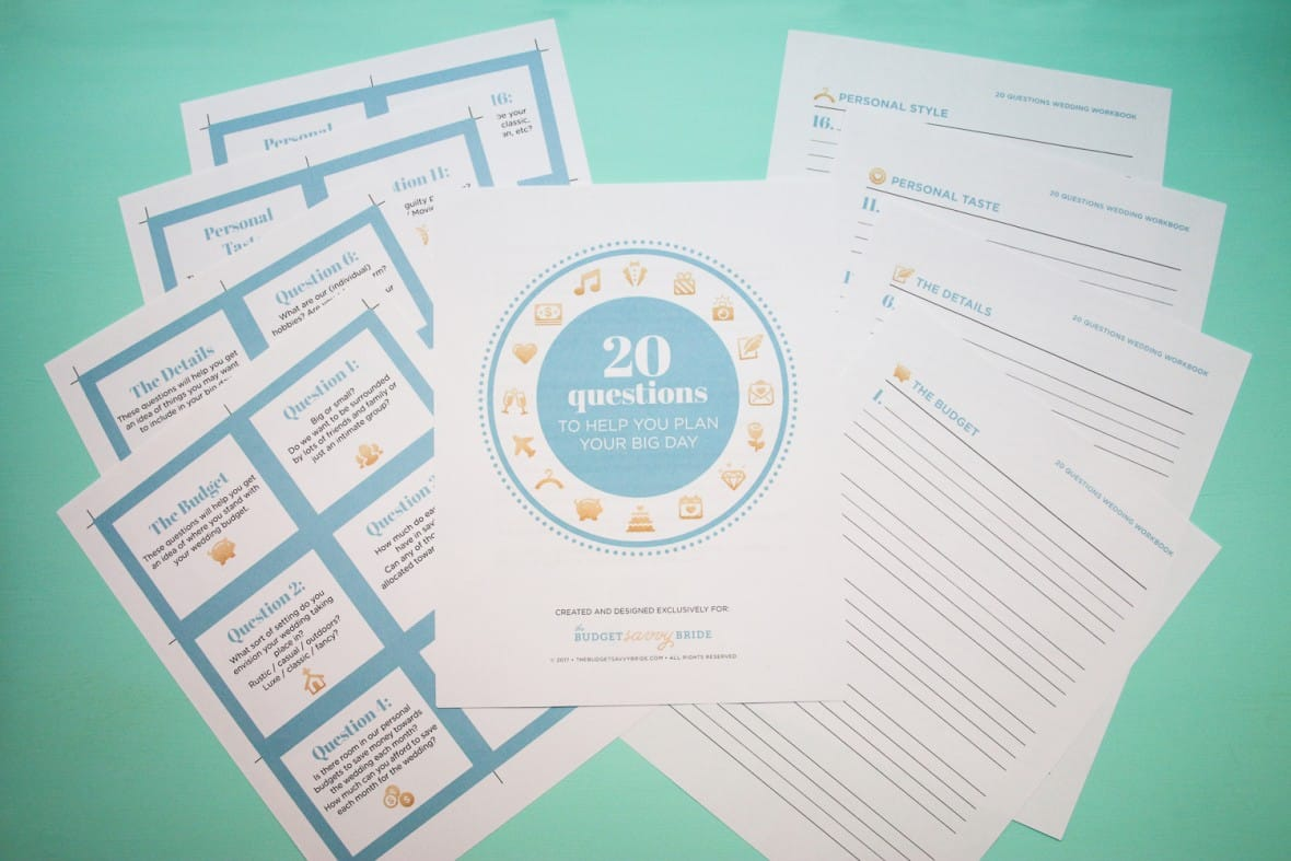 20 questions of wedding planning free printables