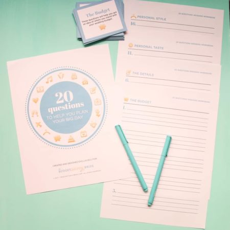 20 questions of wedding planning game