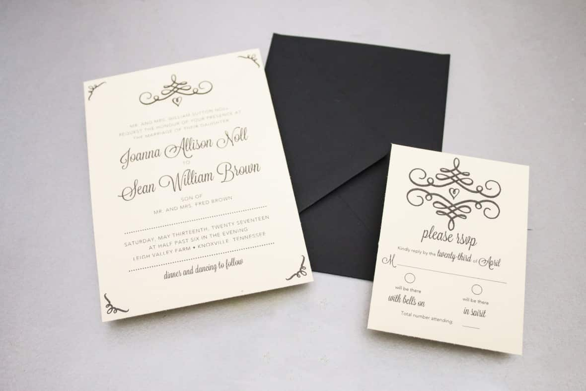 diy swirl wedding invitations