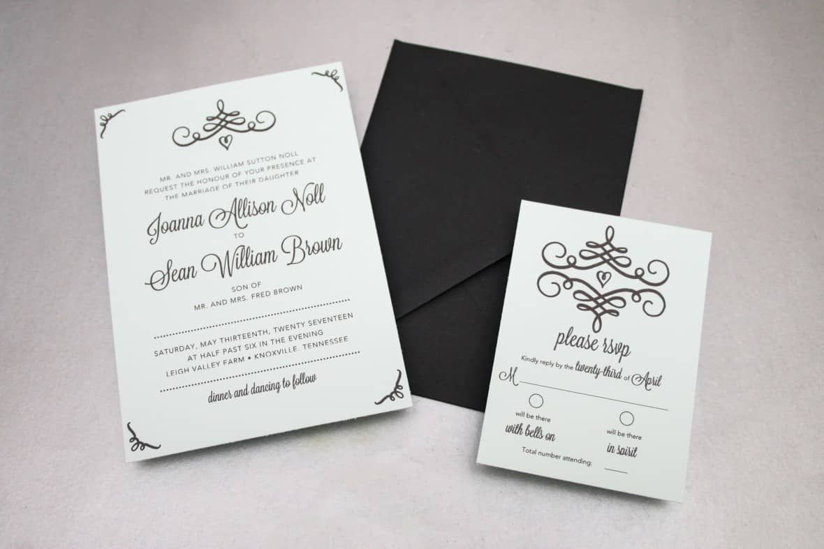diy swirl wedding invitations