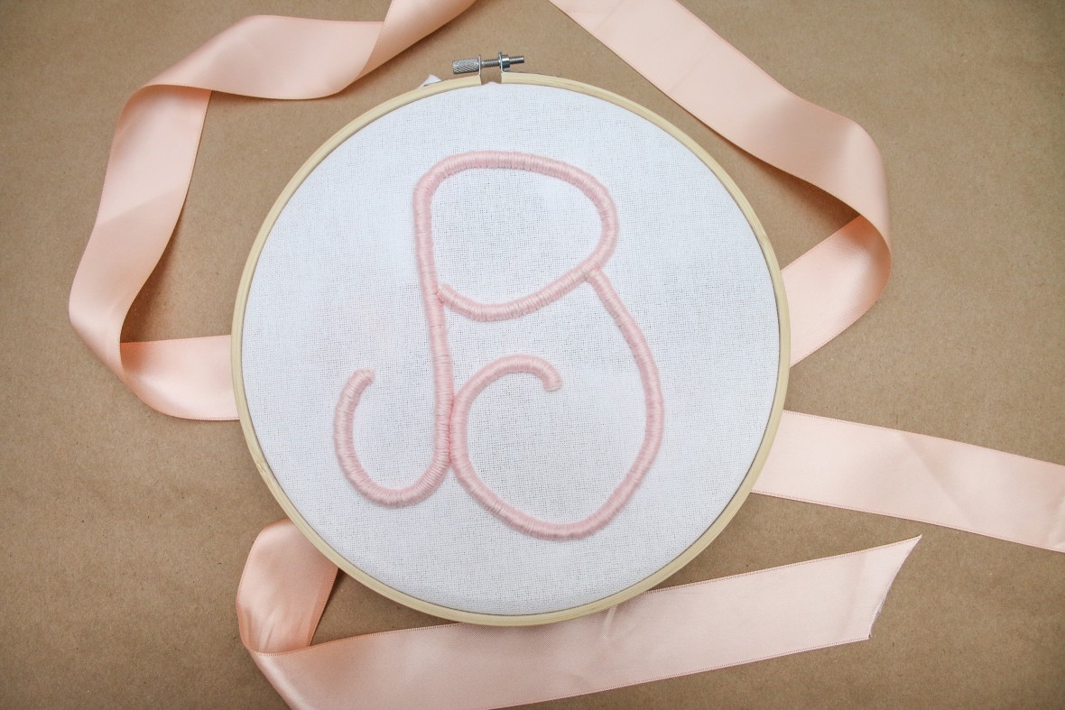 This Raised Stitched Monogram art was created using thick cording and embroidery thread from Oriental Trading. Check out the tutorial here.