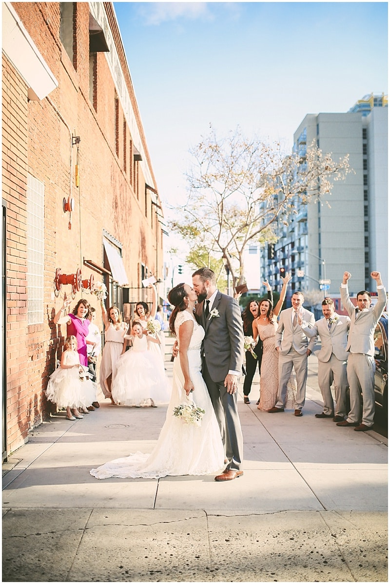 blush and gray bridal party