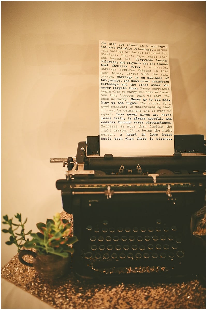 type writer wedding decor