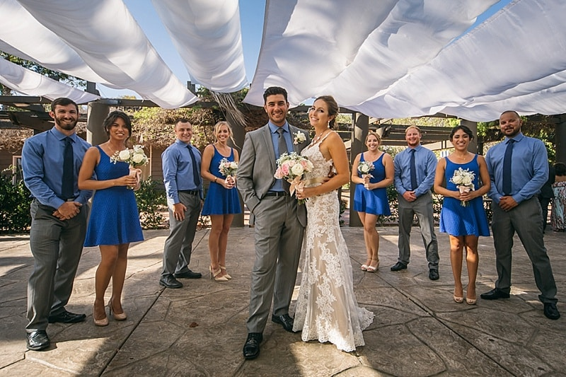blue and gray wedding attire