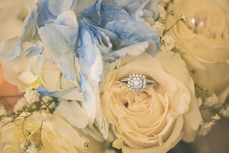 blue and apricot bouquet